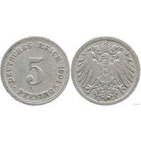 YS: Германия, Рейх, 5 пфеннигов 1901D, KM# 11
