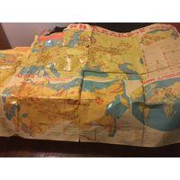 Карта плакат СССР Ленин во главе советского государства Ленин и мировое революционное движение 1917г- 1924г  2,15м х 1,6м