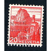 Швейцария, почтовая марка, 1936 год, номинал 20с, SG#375A (*1)