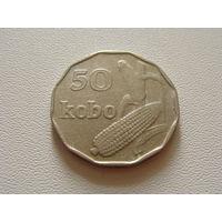 """Нигерия. 50 кобо 1991 год. """"Флора """" Кукуруза """" Герб"""" КМ#13.1"""