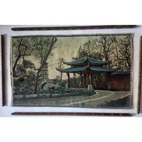 Старинная шелковая картина, гобелен.Китай начало 20 века.