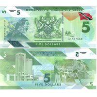 Тринидад и Тобаго 5 долларов  2021 год (полимер) UNC   НОВИНКА