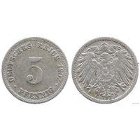 YS: Германия, Рейх, 5 пфеннигов 1902D, KM# 11 (1)