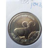 Турция 1 лира Азиатский муфлон+Серый варан 2015 года.