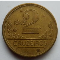 "Бразилия 2 крузейро 1945 ""Карта Бразилии"""