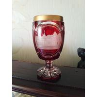 """Бокал хрусталь""""медный рубин"""".1865г. Цветное стекло. Редкость."""