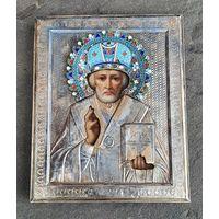 """Икона """"Николай чудотворец"""", 84, горячая цветная эмаль. Царская Россия."""