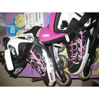 Роликовые коньки девчачьи фирменные ROLLERBLADE, регулируемые на 4 размера (36,5-40,5), бу недолго