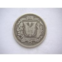 Доминикана 25 центвос 1937 г. серебро