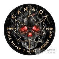 """Канада 5 долларов 2018г. Black Ruthenium: """"Череп в дыму"""". Монета в капсуле; подарочной футляре; номерной сертификат; коробка. СЕРЕБРО 31,135 гр.(1 oz)."""