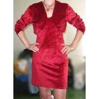Бархатное коктейльное платье с болеро, р.42. Красивое ;)