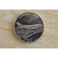 Либерия 5 долларов 2005   Аэробус А380  Редкая!