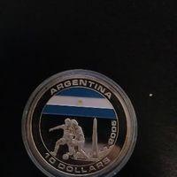 UC#238 10 долларов Либерия 2005 г Футбольный ЧМ