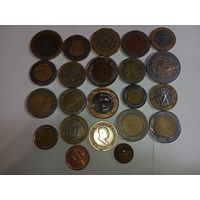 Биметалические 20 монеты 20  разных стран мира , разного времен и правителей без повтора