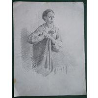 Крохалев Петр. Портрет девушки. Бумага. карандаш. 20х27 см