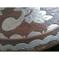 Блюдо тарелка поднос Страны Востока старая ручная работа медь + белый металл