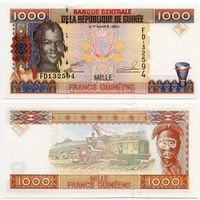 Гвинея. 1000 франков (образца 1998 года, P37, UNC)
