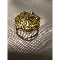 """Брошь--:кольцо для платка """" Коловрат"""" Позолота. Брашировка. Литьё. Германия.3,5 см"""