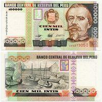 Перу. 100 000 интис (образца 1989 года, P145, UNC)