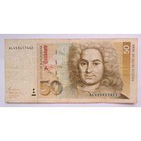 ФРГ 50 марок 1991 г. Большой номинал!!! (25,5 евро по курсу). Распродажа. Старт с 1 руб.