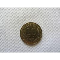 20 сантимов 1988 Франция KM# 930 0 алюминиевая бронза 1989