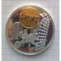 """Португалия 1 евро 2002г """"Proof"""" -позолота, посеребрение-"""