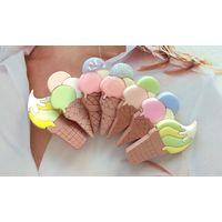 Яркая брошь брошка ручной работы Аппетитное мороженое