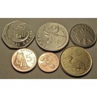 Гамбия. набор 6 монет  1, 2, 5, 10, 25, 50 бутут 1 даласи 1998 - 2014 год