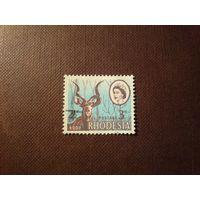 Родезия 1967 г.На марке два номинала 2 1/2 с. и 3 d.Елизавета II и Большой куду.