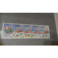 Новый год и Рождество, праздники, марки, Маршалловы острова, 1988 дед Мороз олени дельфины