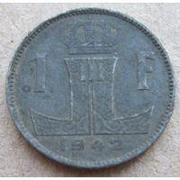Бельгия 1 франк 1942 Belgique-Belgie