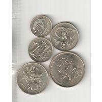 Набор монет Кипра 1,2,5,10,20 центов 2004 года (5 штук) 30