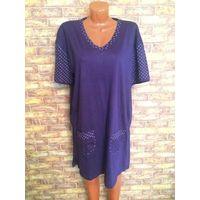 Красивый халат на 52-54 размер насыщенно фиолетового цвета из 100% хлопка. Длина 93 см, ПОгруди 64 см, хорошо тянется