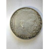 2 рейхсмарки Германия 1937 A (Третий Рейх). Серебро 625. Монета не чищена. 2