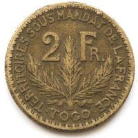 Того 2 франка 1924 года (случайная монета). F-XF
