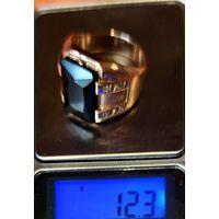 Перстень мужской 22 размер , камень Сапфир ,, 585 проб. 12,3 гр