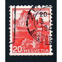 Швейцария, почтовая марка, 1936 год, номинал 20с, SG#375A (*2)