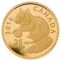 """Канада 25 центов 2014г. """"Восточный бурундук"""". Монета в капсуле; подарочном футляре; номерной сертификат; коробка. ЗОЛОТО 0,5гр."""