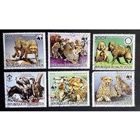 Верхняя Вольта 1984 г. Дикие кошки. Обезьяны. Птицы. Фауна. WWF, полная серия из 6 марок #0224-Ф1P51