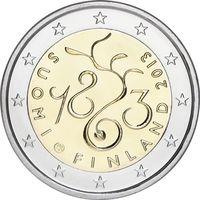 2 евро Финляндия 2013 150 Лет сейму 1863 года UNC из ролла