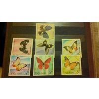 Бабочки, насекомые, марки, фауна, Вьетнам, 1987, б/з