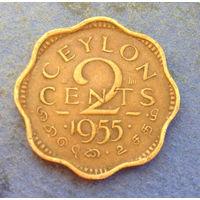 Цейлон Британская колония 2 цента 1955