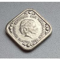Нидерланды 5 центов, 1980 Инаугурация Королевы Беатрикс 4-10-8