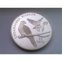 "ВАНУАТУ 50 вату 1992 год ""ПТИЦЫ"" PROOF (серебро)"