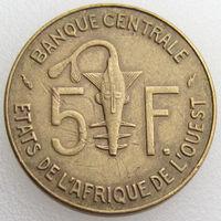 Западная Африка, 5 франков 1976 года, KM#2a, золотая гиря/ газель, животные