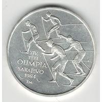 Венгрия 500 форинтов 1984 года. Зимняя олимпиада в Сараево. Серебро 28 грамм. Редкая! Тираж всего 8 тыс. шт.! Штемпельный блеск! Состояние UNC!