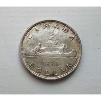 Канада 1 доллар 1936 г. Георг V  серебро, год-тип.