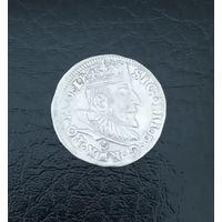 Серебро. 3 гроша 1589 года. Литва. Знак выше надписи. Вильнюс
