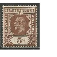 Стрейтс и Сетлментс. Король Георг V. 1922г. Mi#179.