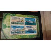 Корабли, военно-морской флот, транспорт, техника, марки, Гибралтар, блок